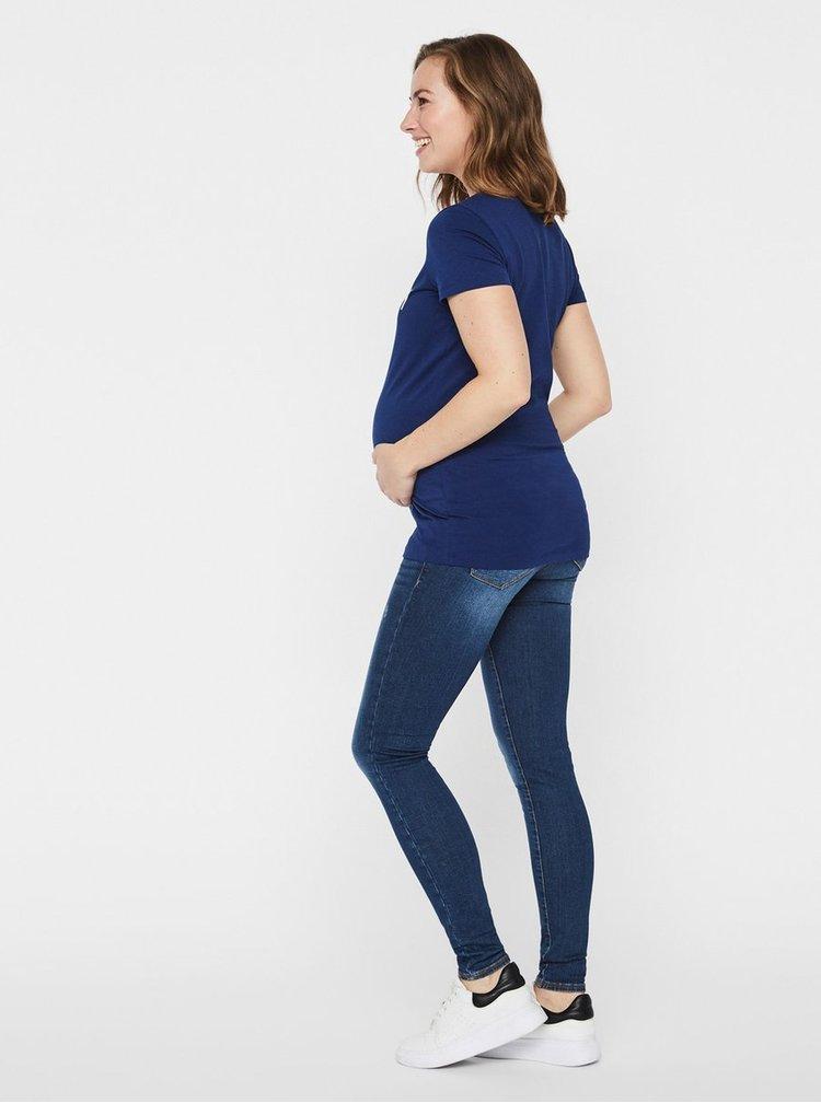 Tricou albastru pentru femei insarcinate cu imprimeu si paiete Mama.licious Kristine