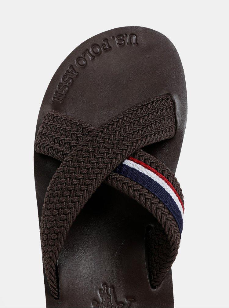 Tmavě hnědé pánské pantofle U.S. Polo Assn.
