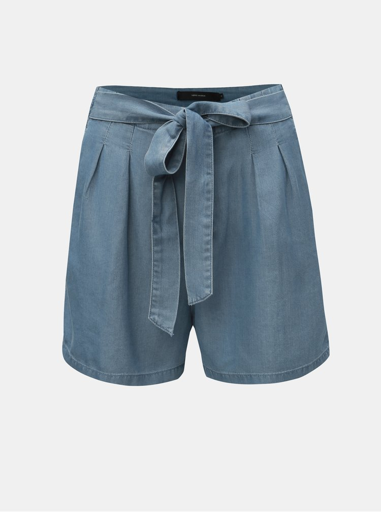 Pantaloni scurti albastri cu talie inalta VERO MODA Mia