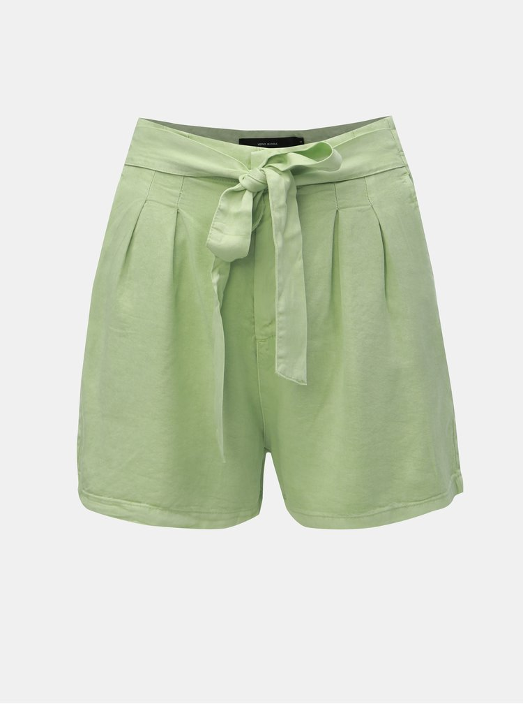 Pantaloni scurti verde deschis cu talie inalta VERO MODA Mia