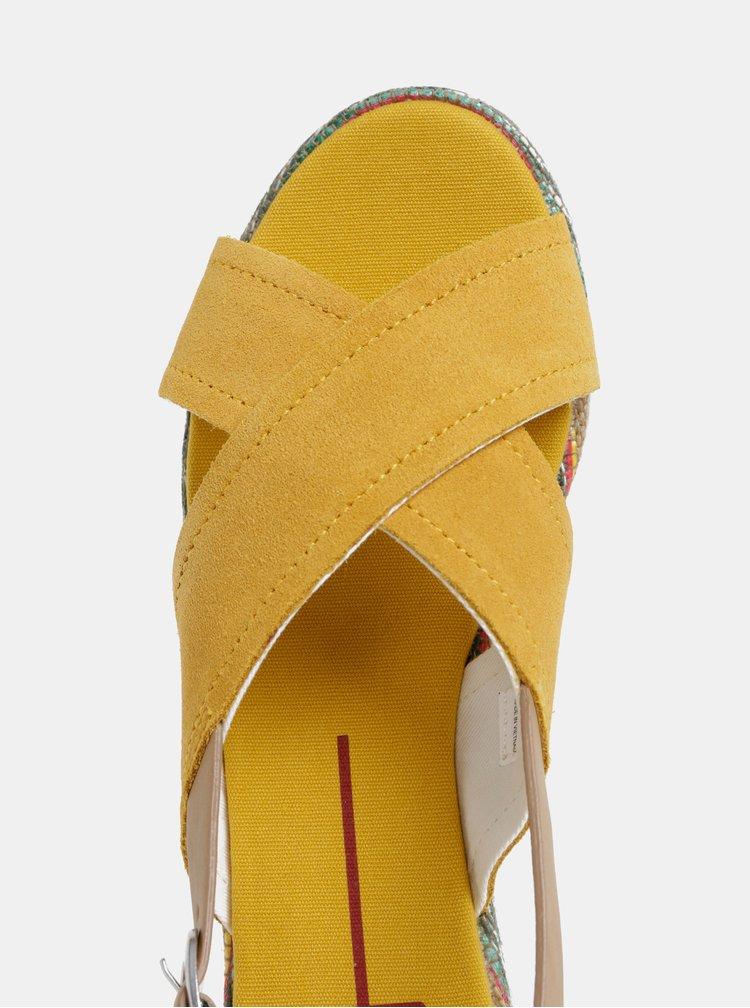 Horčicové dámske semišové sandále U.S. Polo Assn.
