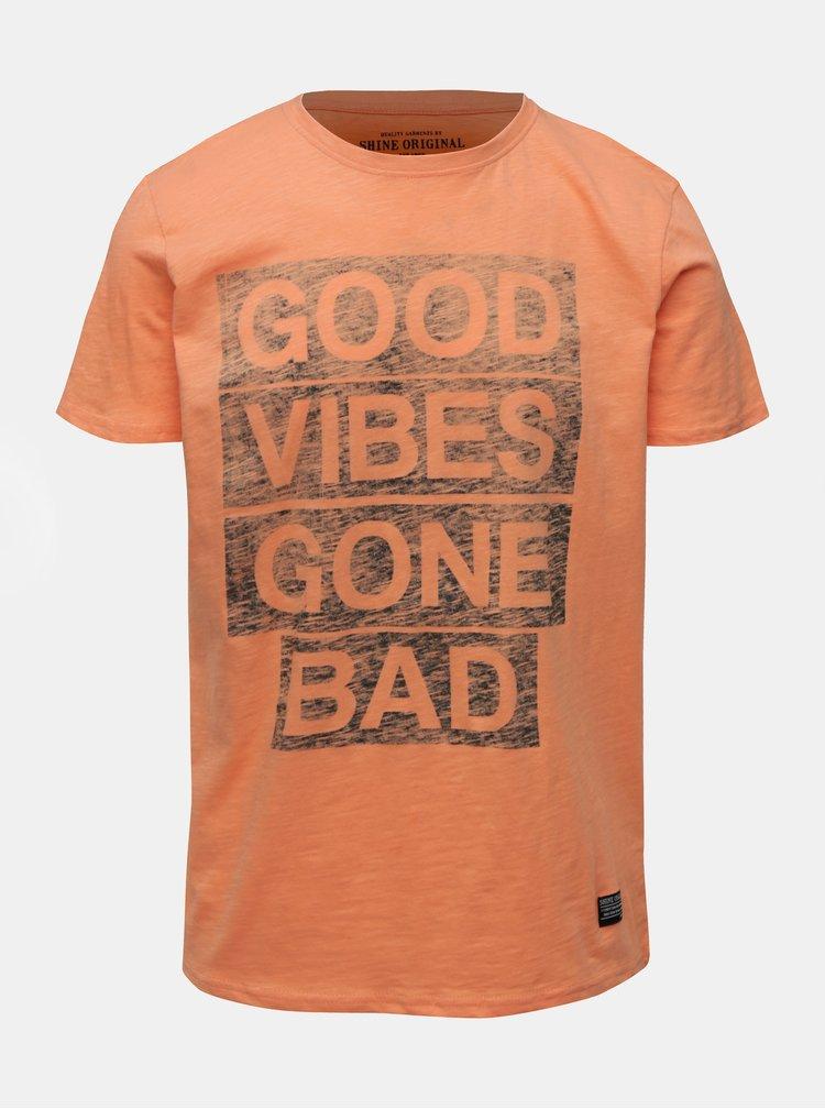 Tricou oranj cu imprimeu Shine Original