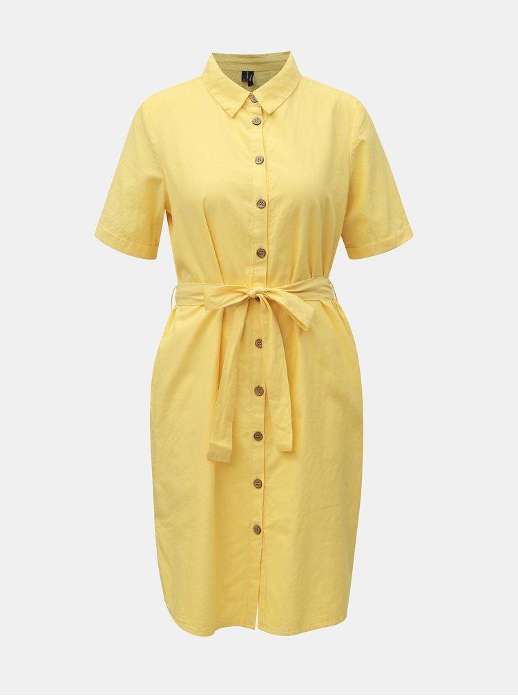 Žlté košeľové šaty VERO MODA Abena