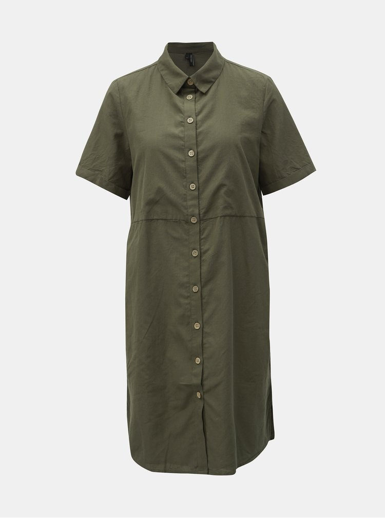 Kaki košeľové šaty VERO MODA Abena