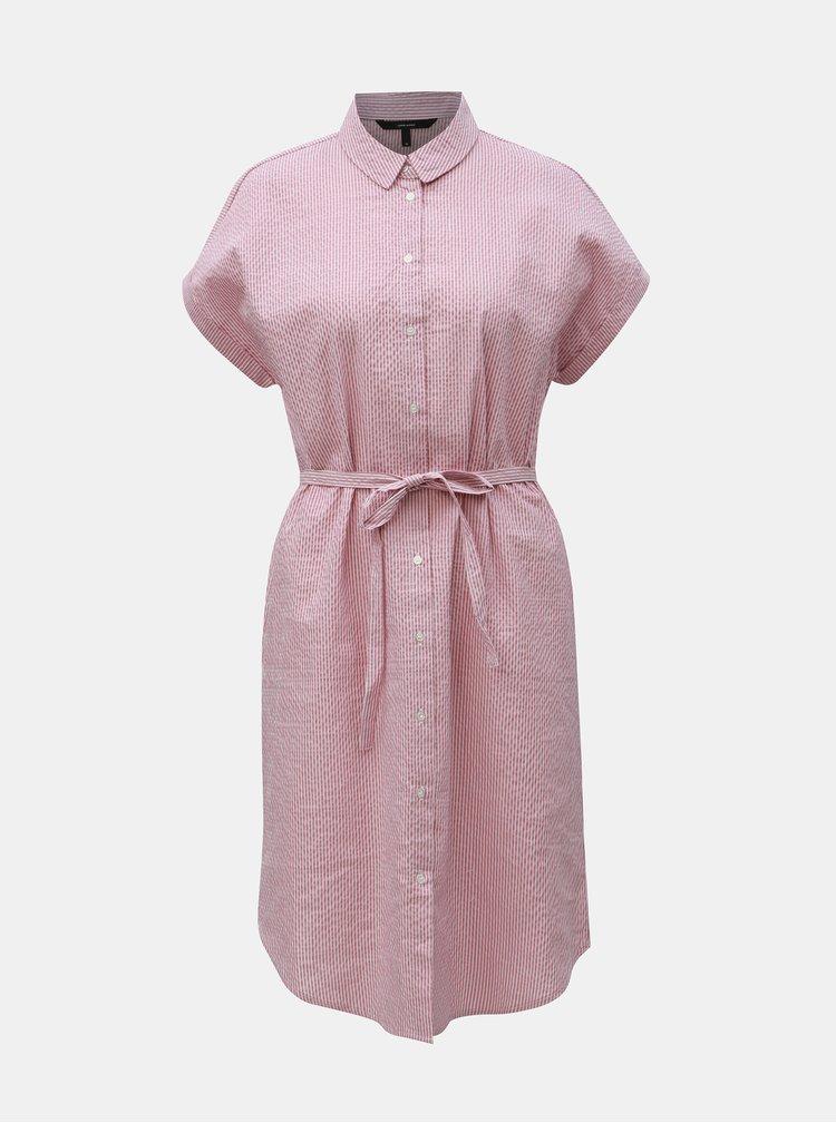 Staroružové pruhované košeľové šaty VERO MODA Jane