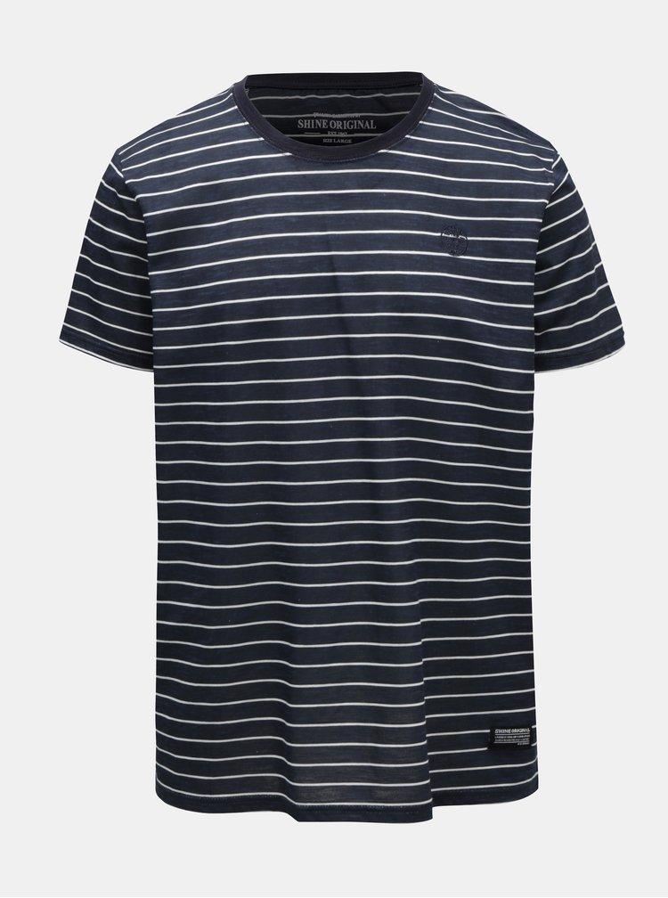 Tmavě modré pruhované tričko Shine Original