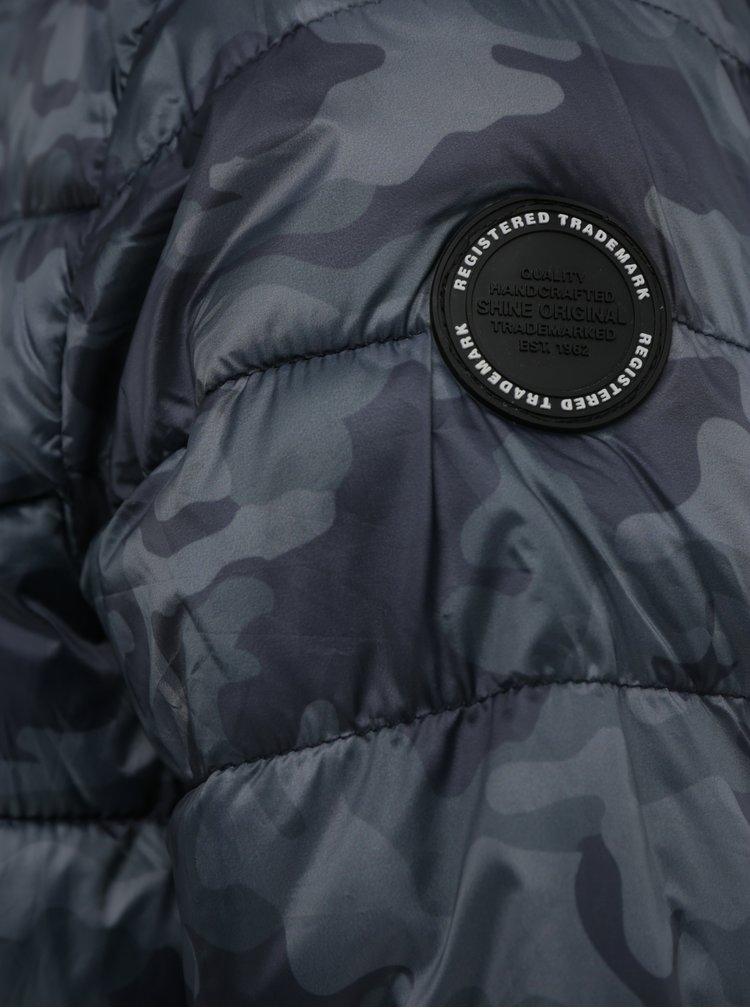 Tmavosivá maskáčová prešívaná bunda Shine Original