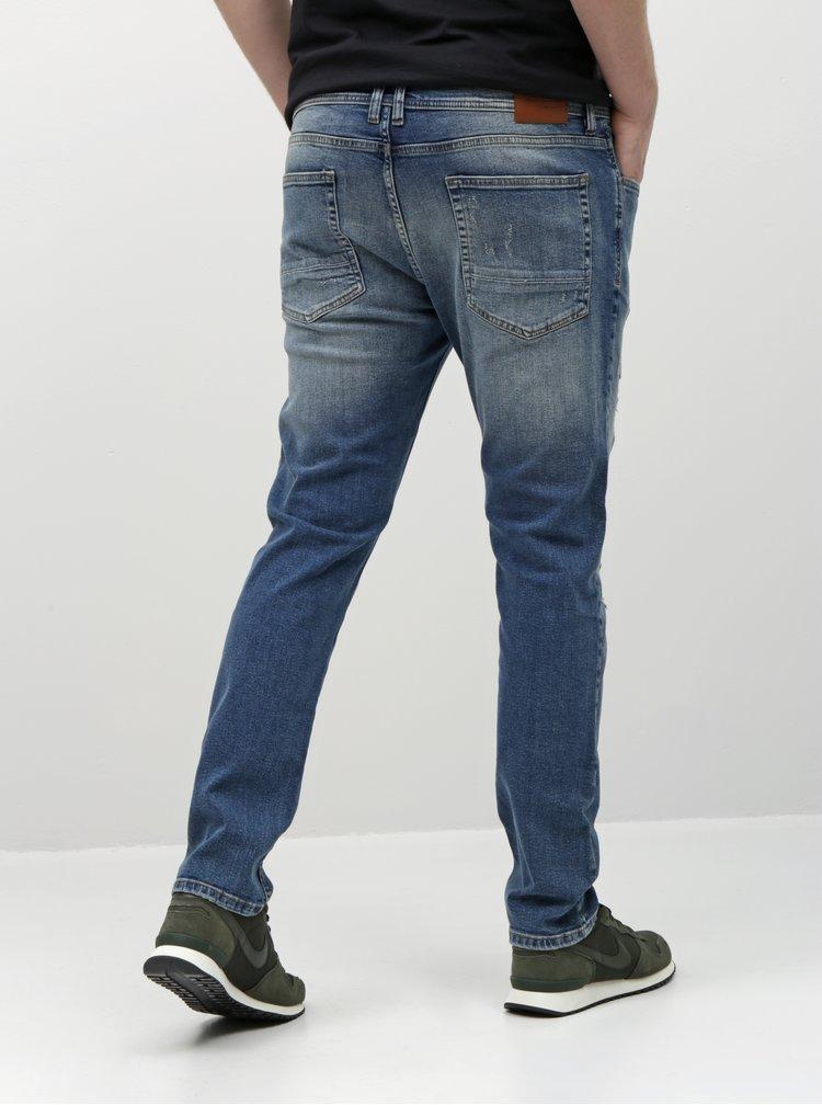 Blugi albastri slim fit cu aspect uzat Shine Original
