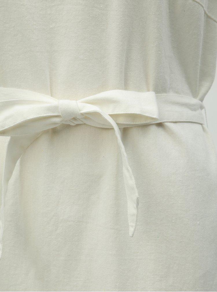 Krémové lněné šaty VERO MODA Anna