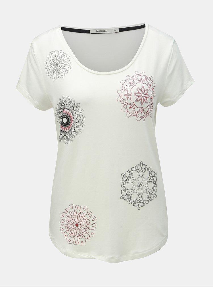 Bílé tričko s potiskem Desigual Sonja