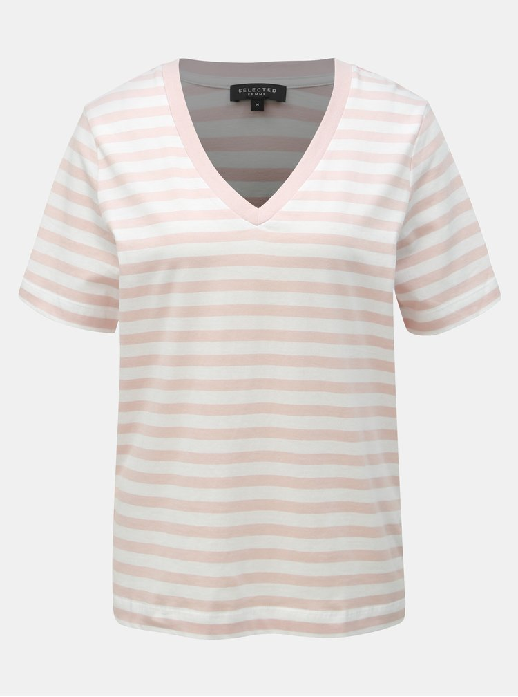 Tricou basic alb-roz in dungi Selected Femme Standard