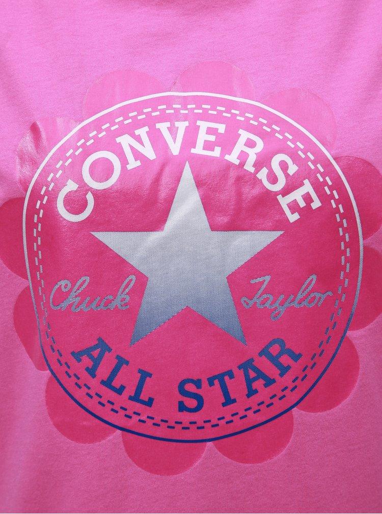 Růžové dámské tričko s potiskem Converse