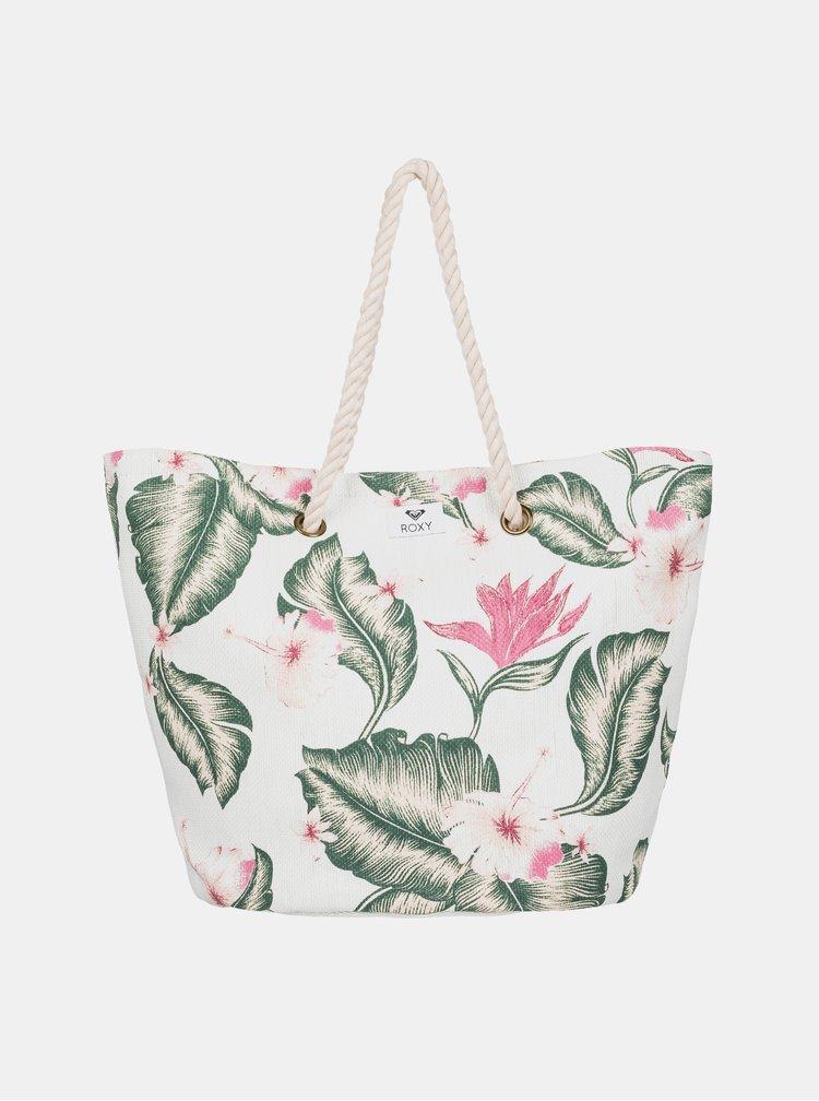 Krémová květovaná plážová taška Roxy Sunseeker