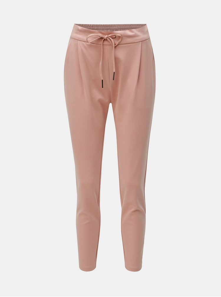 Staroružové skrátené nohavice s vysokým pásom VERO MODA Eva