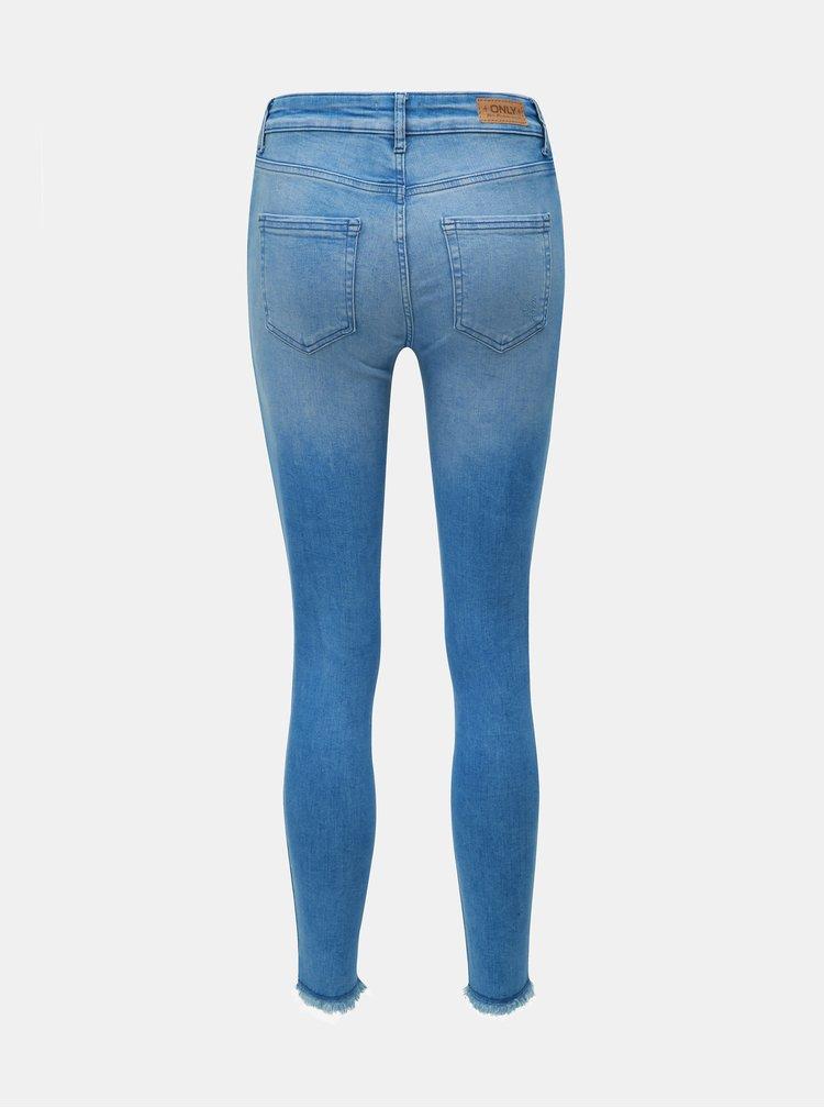 Blugi albastri skinny fit cu terminatii nefinisate ONLY Blush