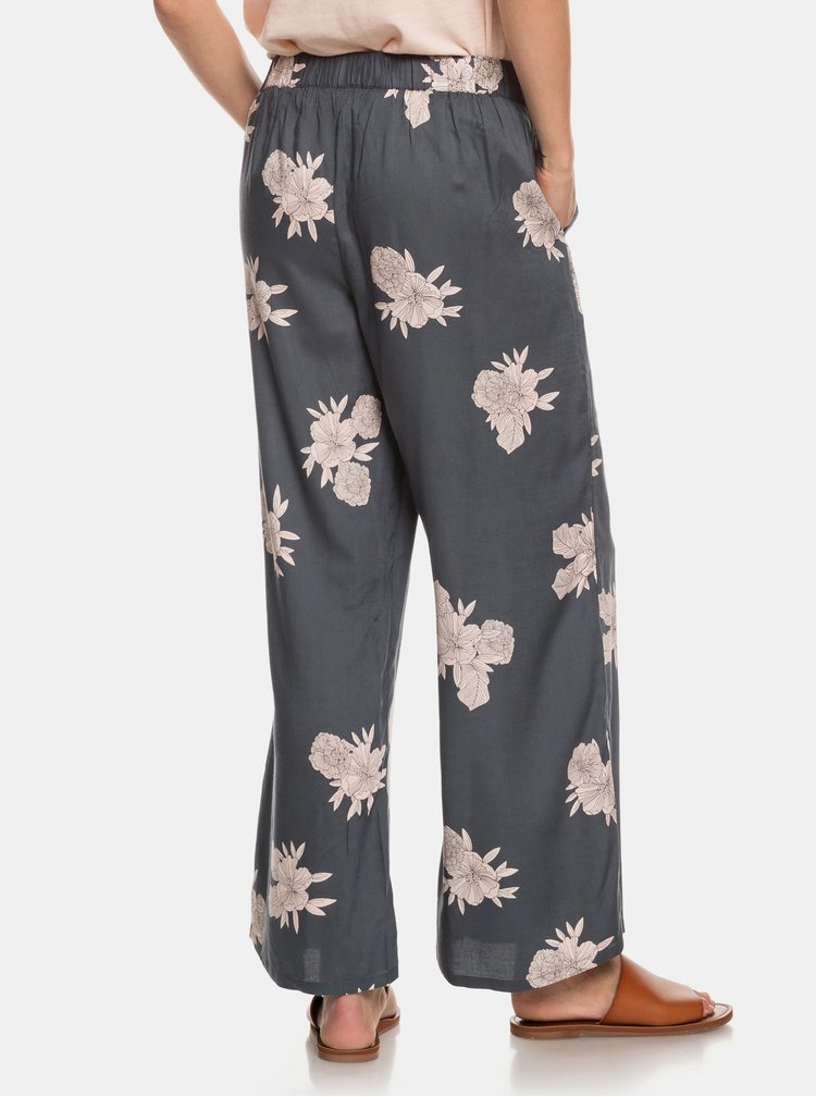 Sivé kvetované nohavice Roxy Midnight
