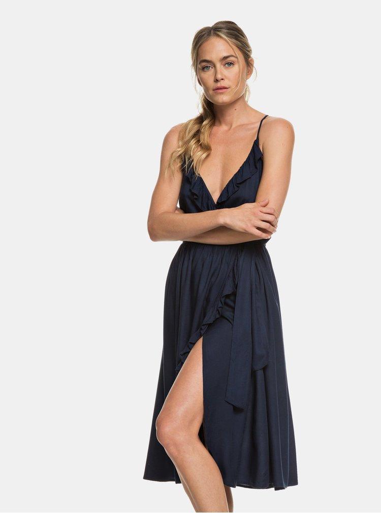 Tmavomodré zavinovacie šaty Roxy Rooftop