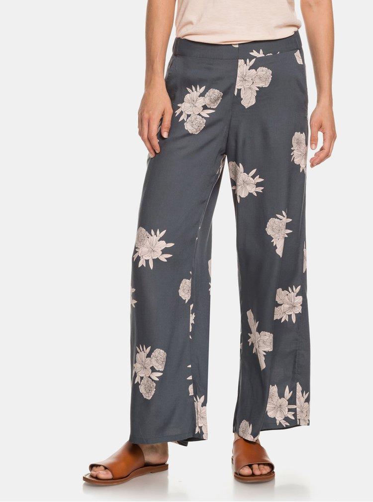 Šedé květované kalhoty Roxy Midnight