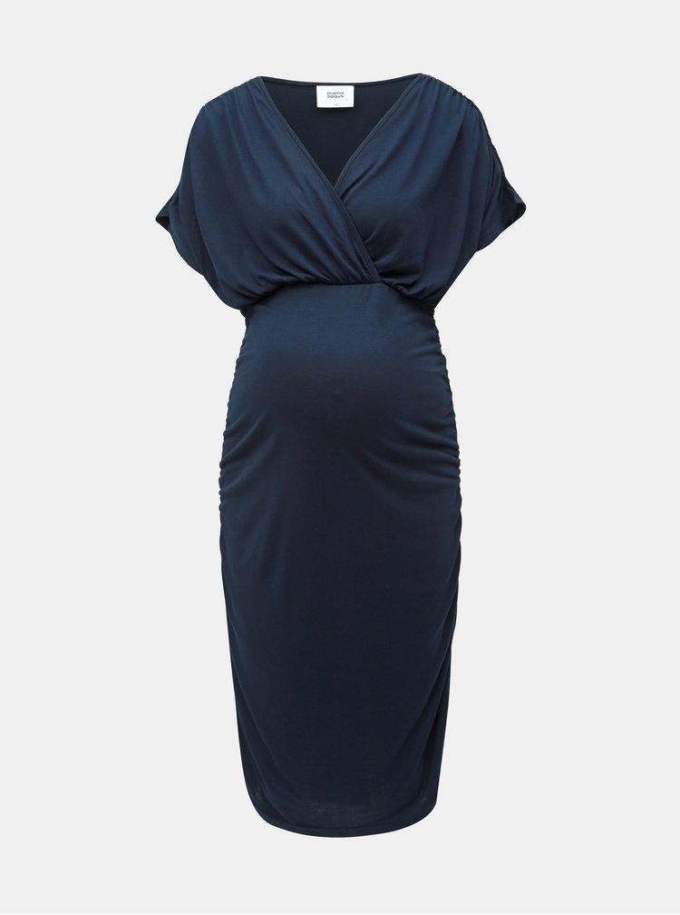 Tmavomodré tehotenské šaty vhodné na dojčenie Mama.licious