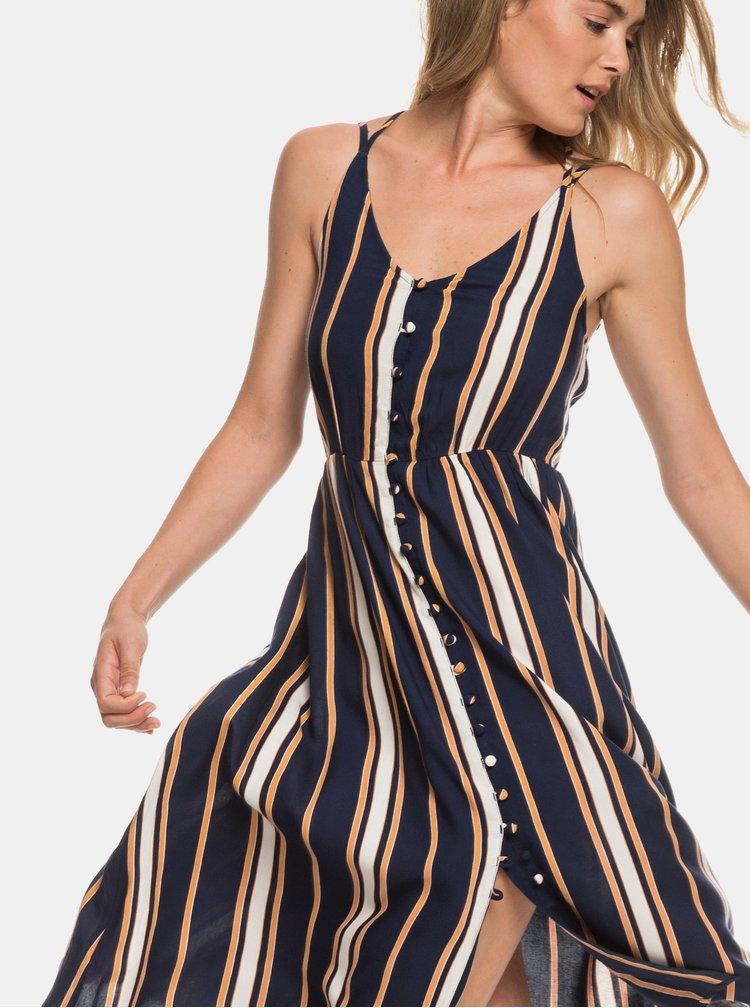 Tmavě modré pruhované šaty na ramínka Roxy Sunset Beauty