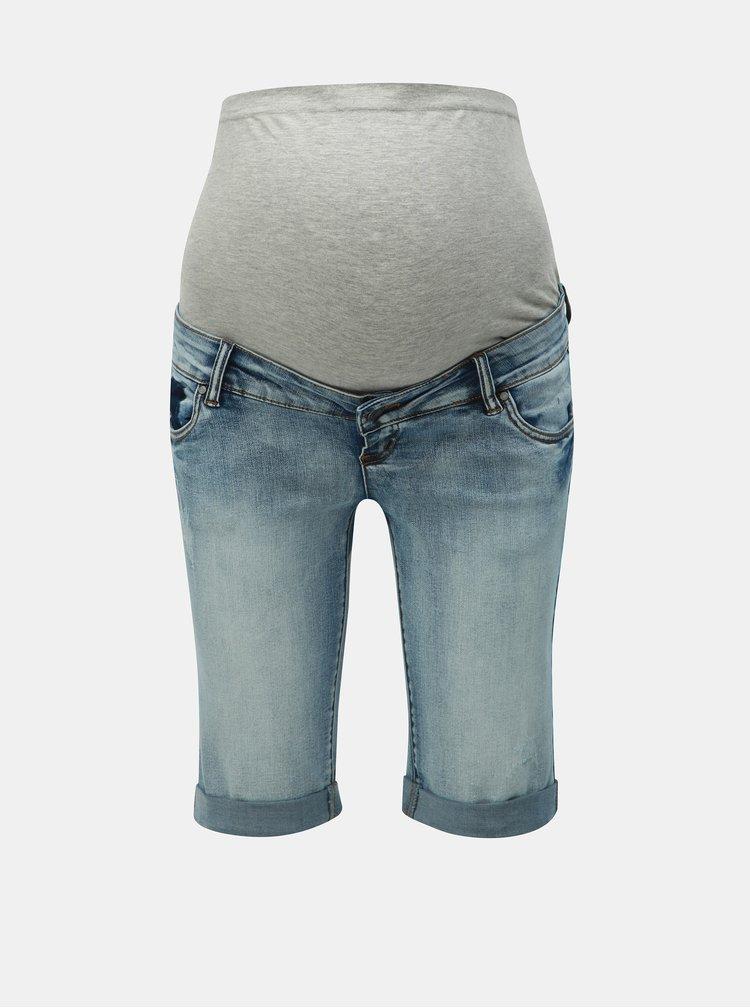 Modré rifľové tehotenské slim fit kraťasy Mama.licious