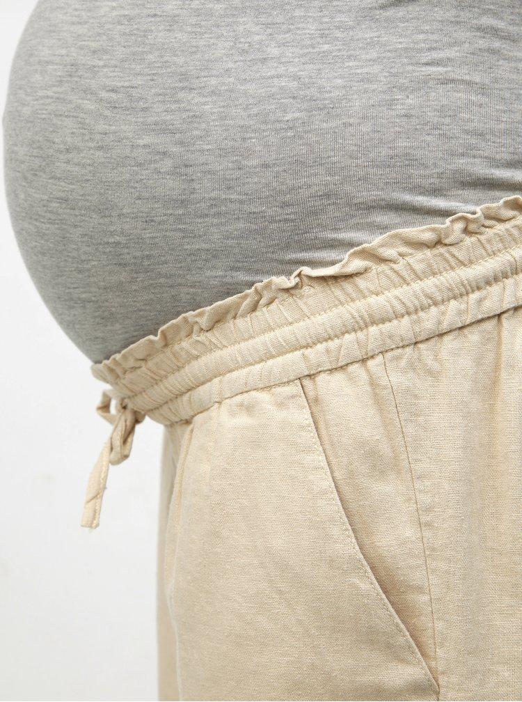 Béžové těhotenské lněné kraťasy Mama.licious