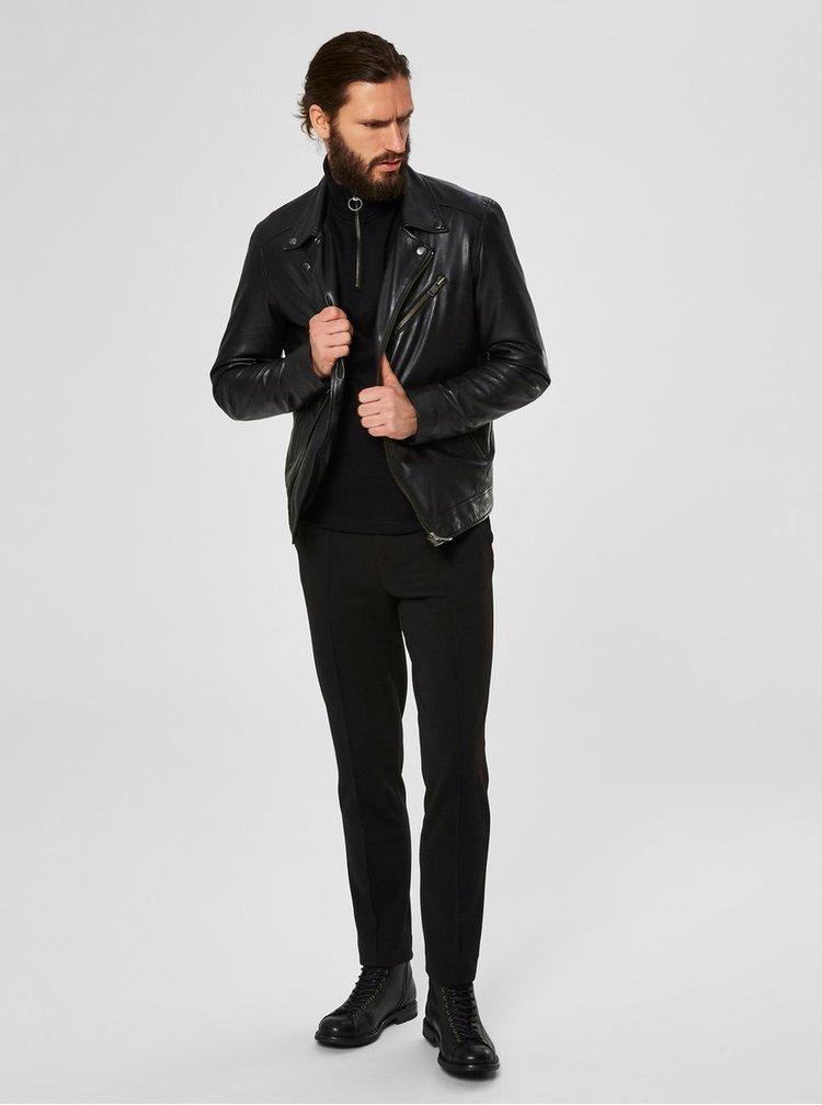 Černý kožený křivák Selected Homme Biker
