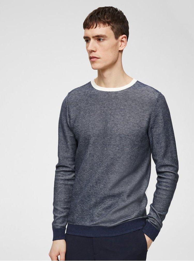 Pulover albastru melanj cu amestec de lana Selected Homme Bran