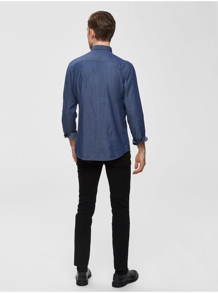 Camasa albastra cu buline slim fit Selected Homme Kris