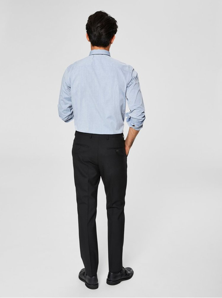 Svetlomodrá vzorovaná slim fit košeľa Selected Homme Kris
