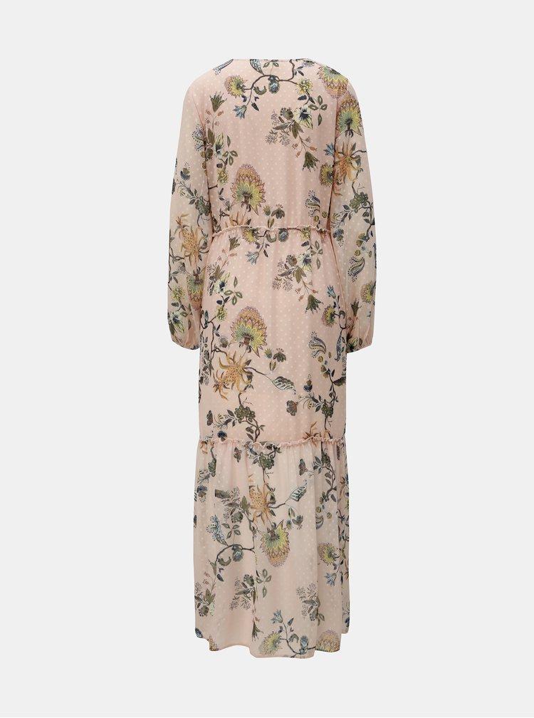 Růžové květované maxišaty VILA Almira