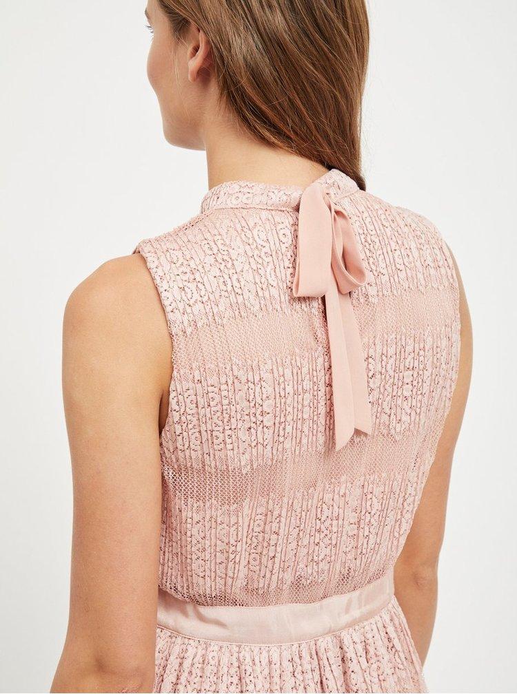 Světle růžové krajkové midi šaty VILA Lacina