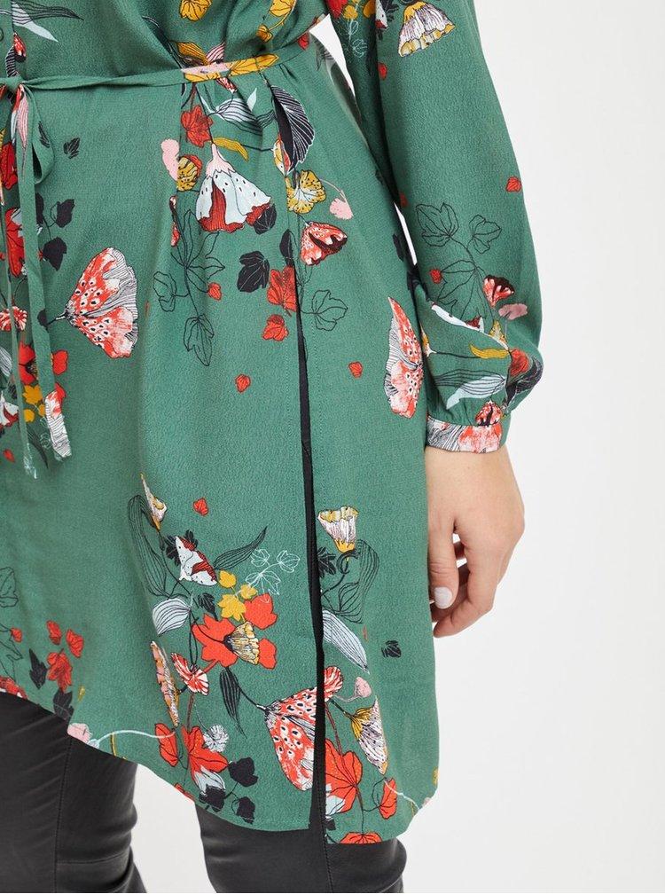 Camasa lunga verde florala cu taieturi VILA Mule