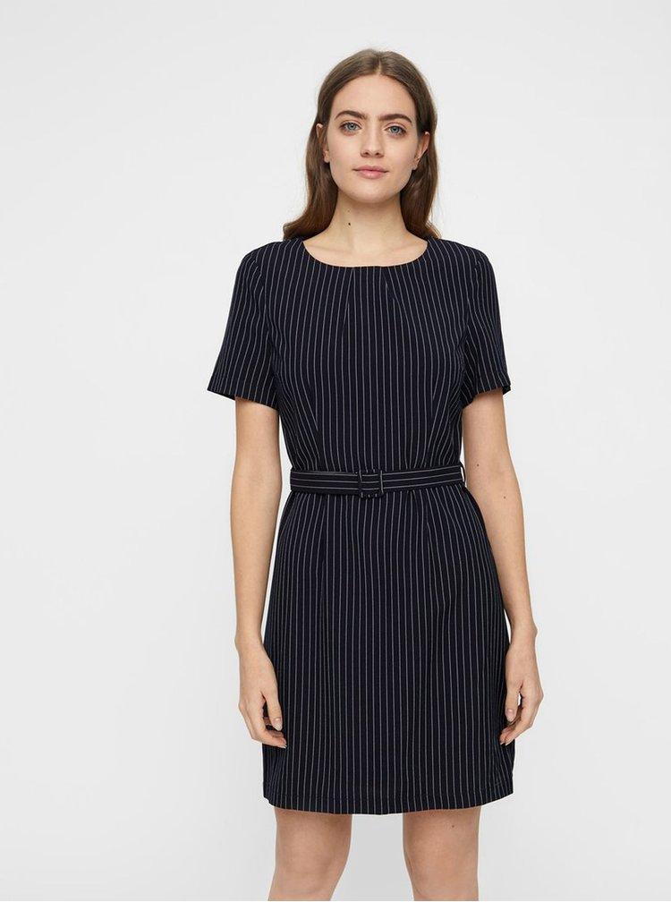 Tmavě modré pruhované šaty s páskem VERO MODA Helena