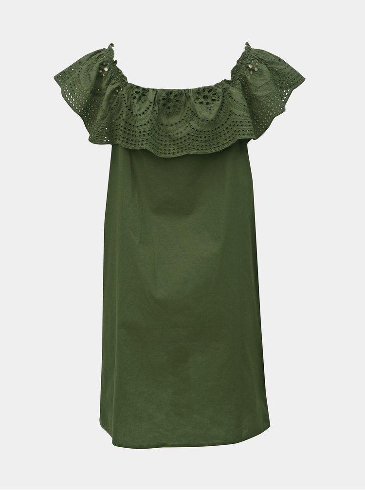 Zelené šaty s madeirou a odhalenými ramenami Dorothy Perkins