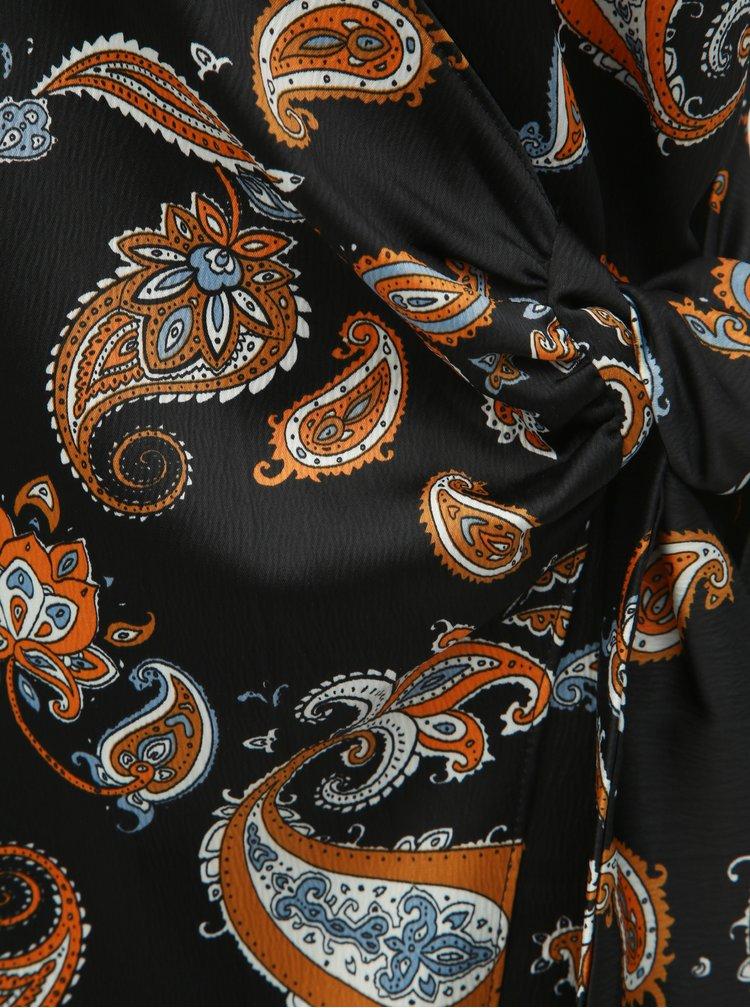Černý vzorovaný top se zavazováním Dorothy Perkins