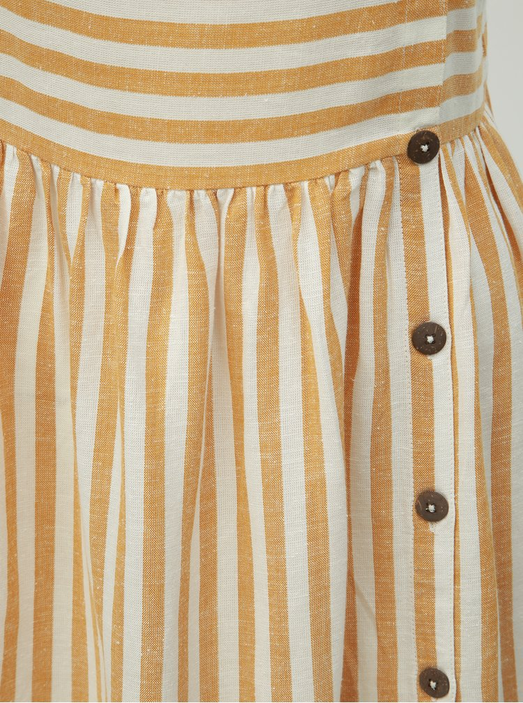 Bílo-hnědé pruhované šaty s příměsí lnu Dorothy Perkins