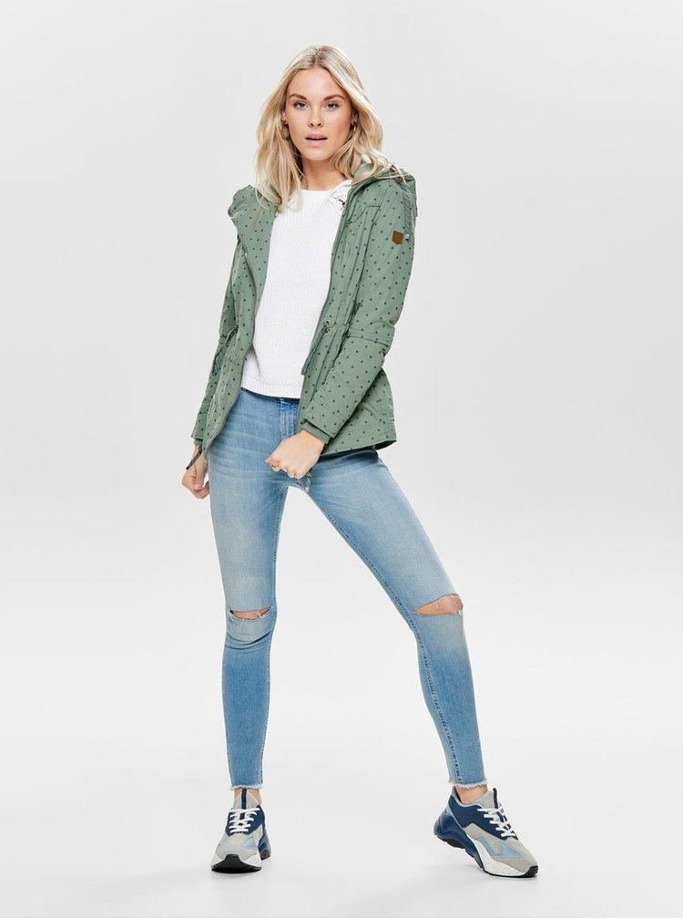 Jacheta parka verde lejera cu buline ONLY Tina