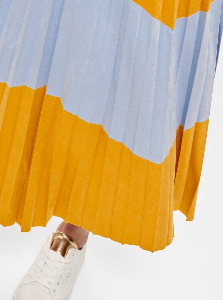 Fusta midi albastru-mustar plisata cu aspect de piele intoarsa ONLY June
