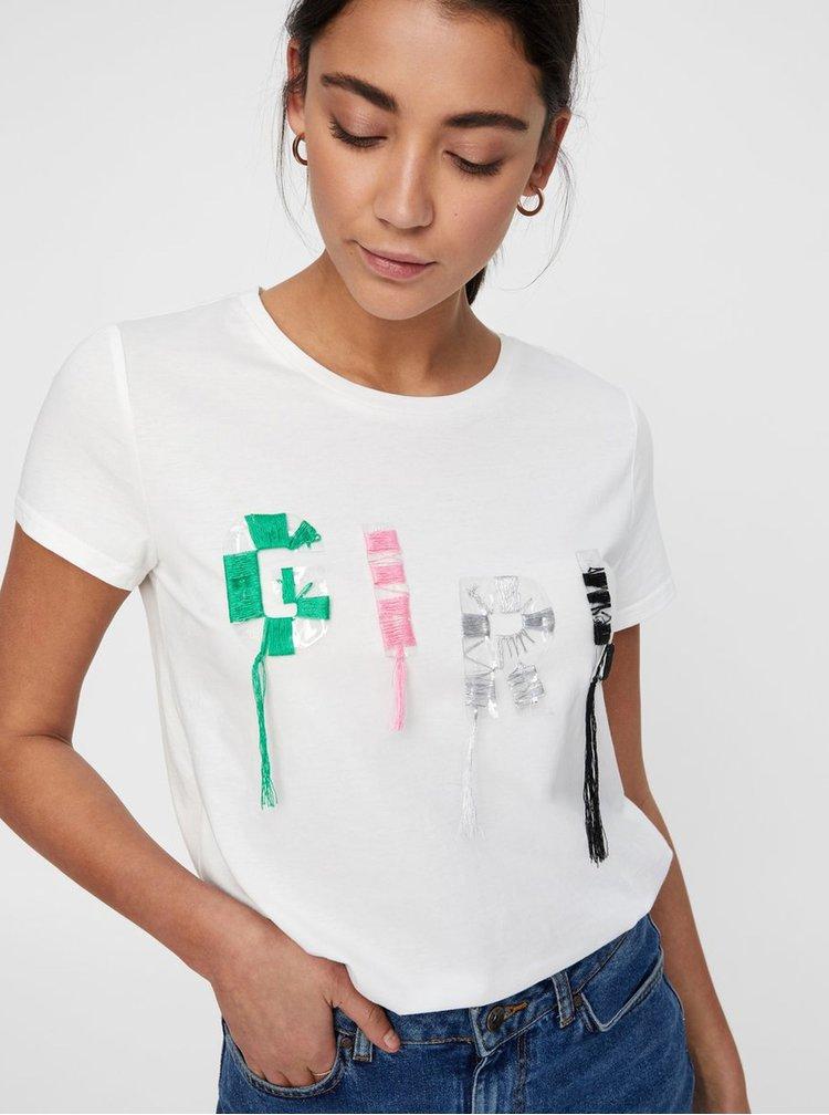 Krémové tričko s aplikací Noisy May Lizy