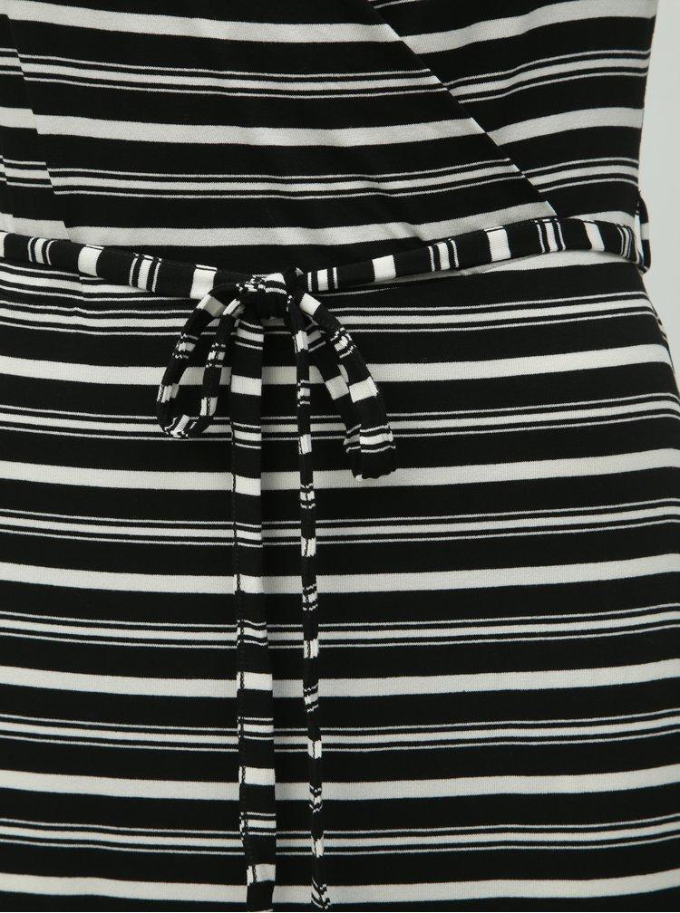 Bílo-černé pruhované maxišaty Dorothy Perkins Petite