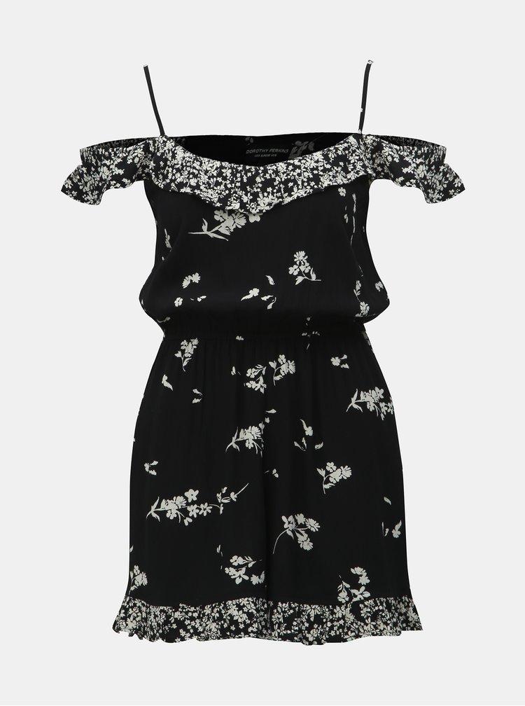 Salopeta neagra florala cu volane Dorothy Perkins