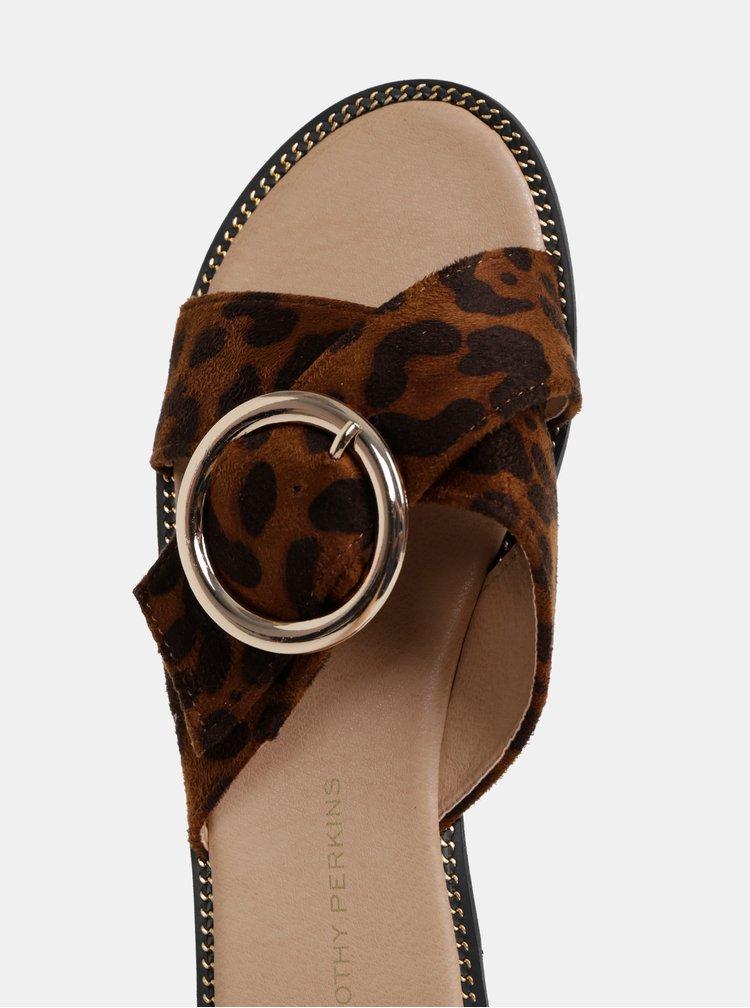 Hnedé šľapky s leopardím vzorom Dorothy Perkins