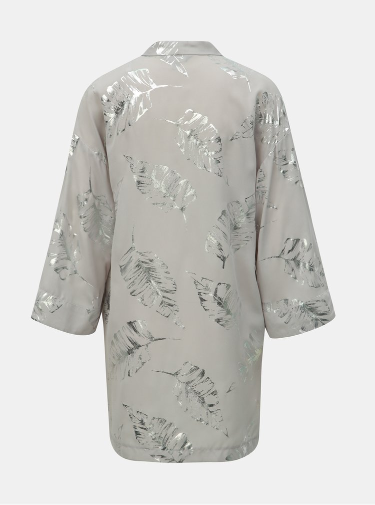 Světle šedé kimono s potiskem Dorothy Perkins