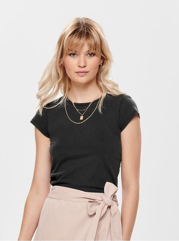 Tmavosivé basic tričko ONLY Cate