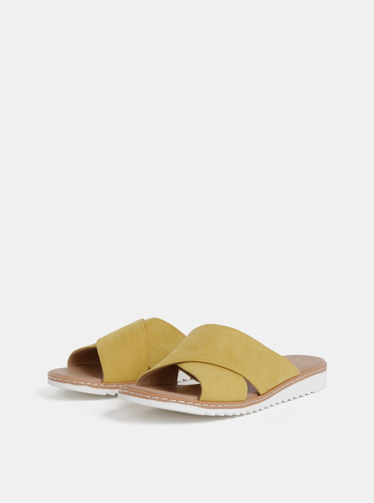 Hořčicové pantofle v semišové úpravě Dorothy Perkins
