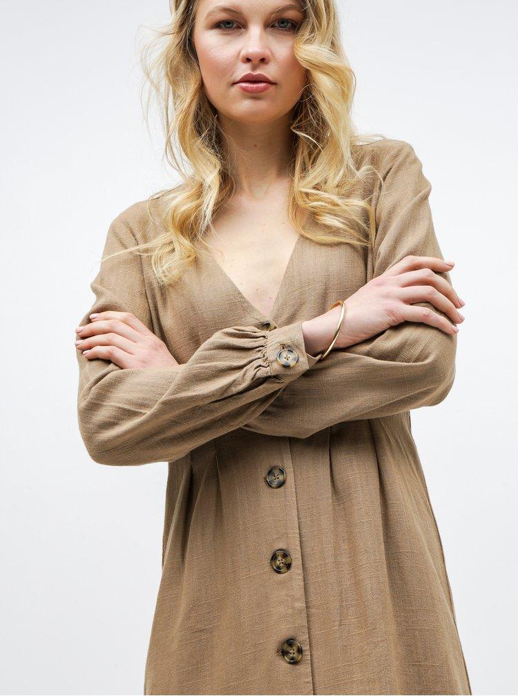 Hnedé ľanové šaty VILA Linnan