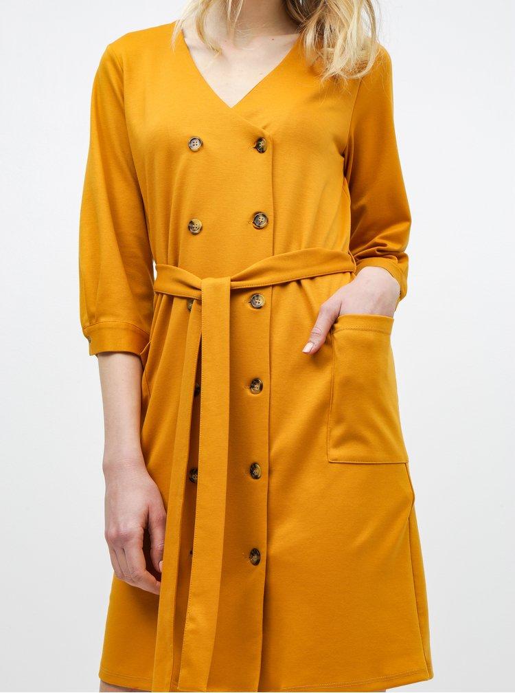 Hořčicové košilové šaty s kapsami Dorothy Perkins