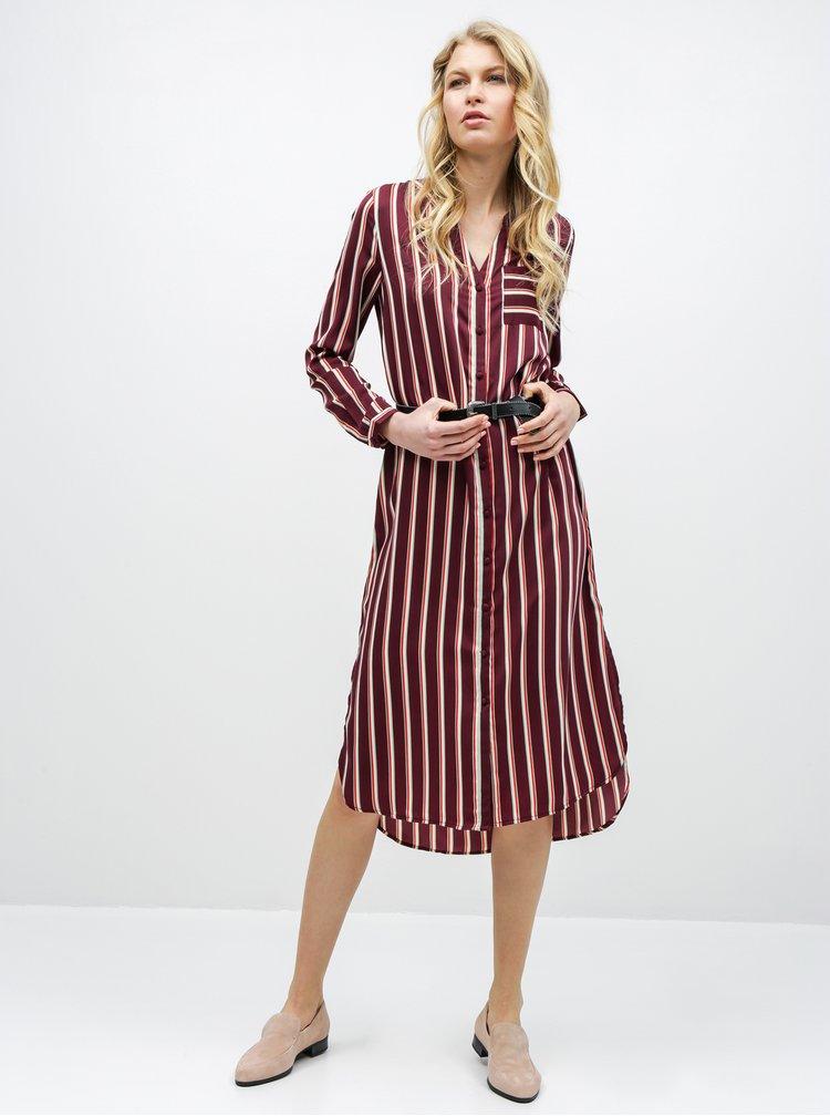 Vínové pruhované košilové midišaty VERO MODA Katlyn