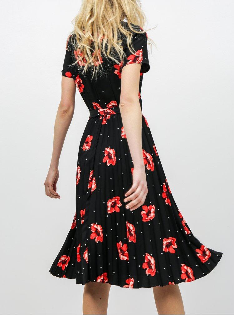 Čierne kvetované plisované šaty s prestrihom v dekolte Dorothy Perkins